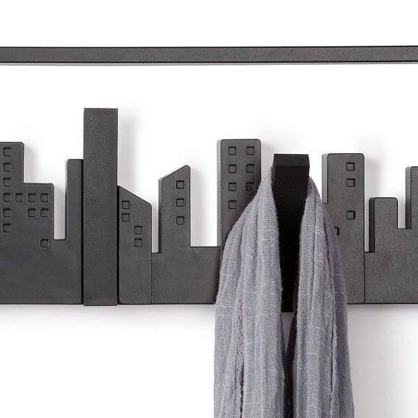 Porte manteau mural design skyline noir for Volantino tocal