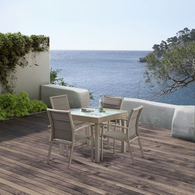 salon de jardin moderne 4 personnes modulo taupe. Black Bedroom Furniture Sets. Home Design Ideas