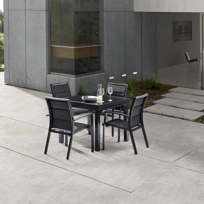 salon de jardin moderne 4 personnes modulo noir. Black Bedroom Furniture Sets. Home Design Ideas