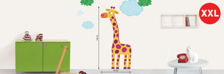Sticker mural girafe grande taille XXL - NOUVELLES IMAGES