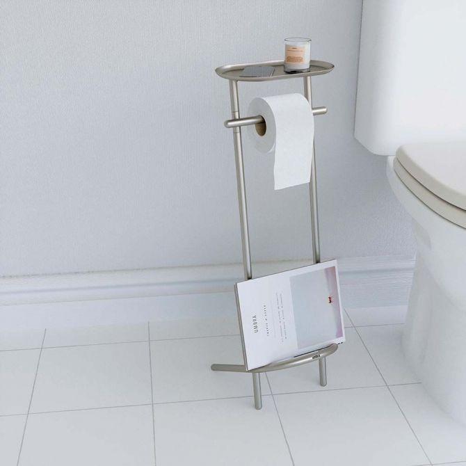support papier toilettes avec tablette et porte revues. Black Bedroom Furniture Sets. Home Design Ideas