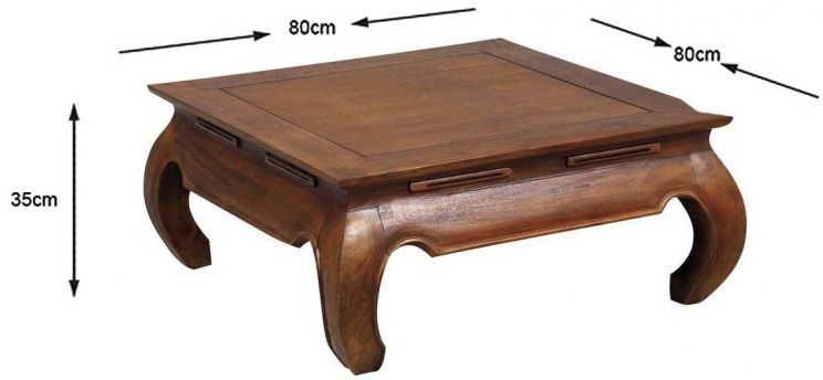 Table basse exotique en teck massif opium taille 1 - Table basse en teck massif ...