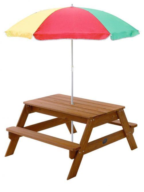 Table de pique nique en bois avec parasol - Table de jardin avec parasol ...