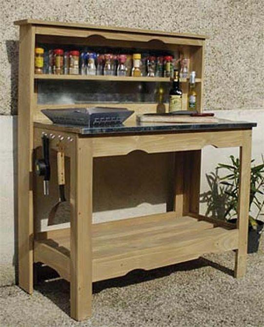 Table plancha en bois et zinc - Table cuisine palette ...