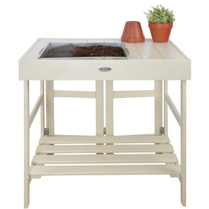 table de rempotage en pin et zinc blanc. Black Bedroom Furniture Sets. Home Design Ideas