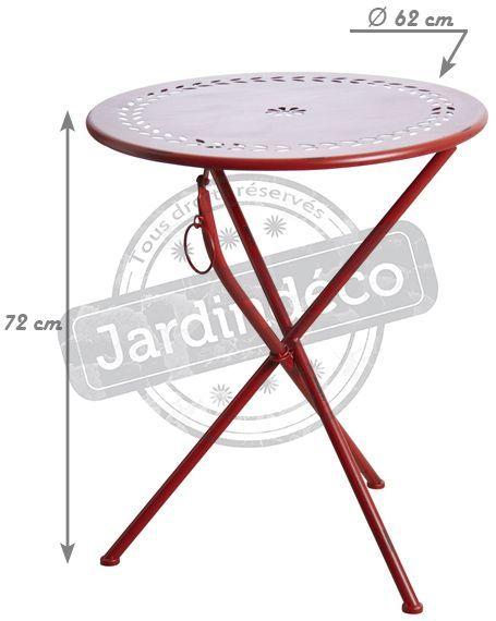table de terrasse pliante ronde rouge. Black Bedroom Furniture Sets. Home Design Ideas