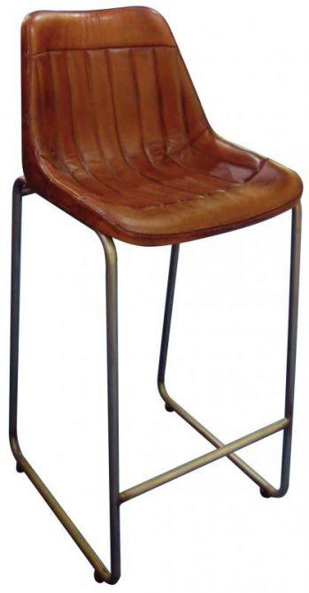 Tabouret de bar en cuir marron et pieds en m tal - Tabouret de bar cuir marron ...