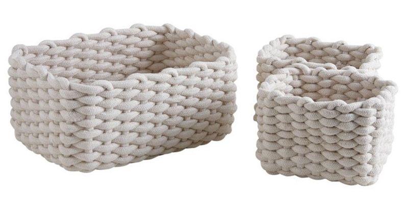 30 47CM 47 cm bourriche Panier tress/é Corde Coton b/éb/é Panier /à Linge Box Keepsake pour Plafond,A,30 Extra Large Panier de Corde de Coton