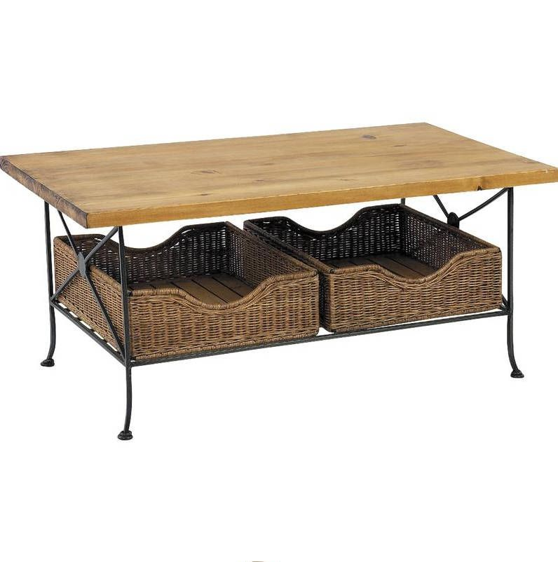 Table basse en M�tal et Pin avec 2 tiroirs en Rotin 100x60x46cm