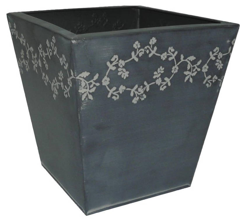 Jardinière fleurie en Zinc Noir carrée 18.5x18x20cm