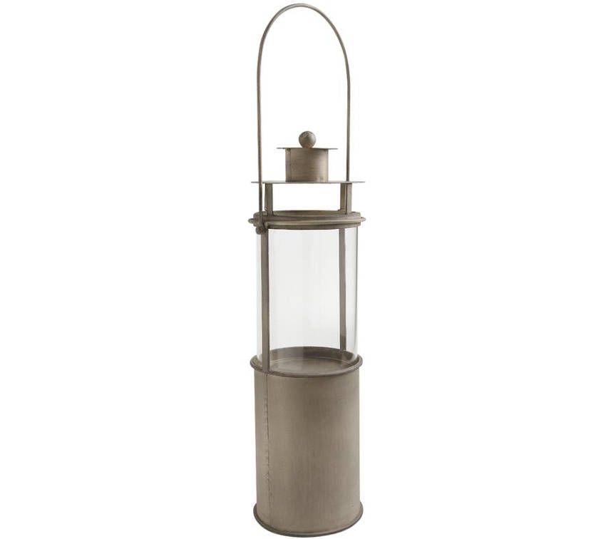 lanterne photophore taupe en m tal et verre ebay. Black Bedroom Furniture Sets. Home Design Ideas