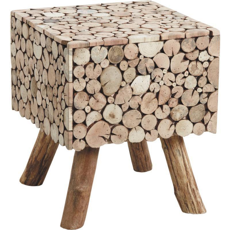 Table d'appoint carrée rondins en sapin
