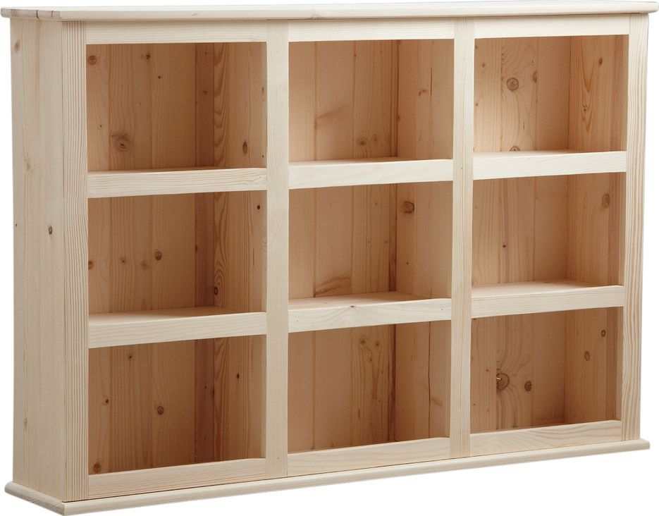 Bibliothèque en bois brut 9 cases