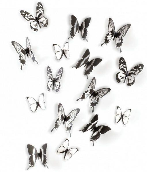Décor mural adhésif 15 papillons noirs