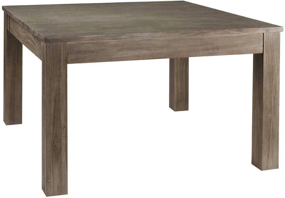 Teck table - Table carree grise avec allonges ...