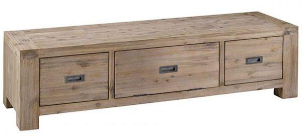 meuble t l nevada en acacia avec 2 tiroirs 1 porte 160x48x43cm eur 579 00 picclick fr. Black Bedroom Furniture Sets. Home Design Ideas