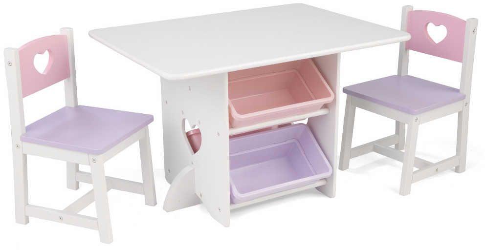 Table, chaises et bac rangement enfant en bois Coeur