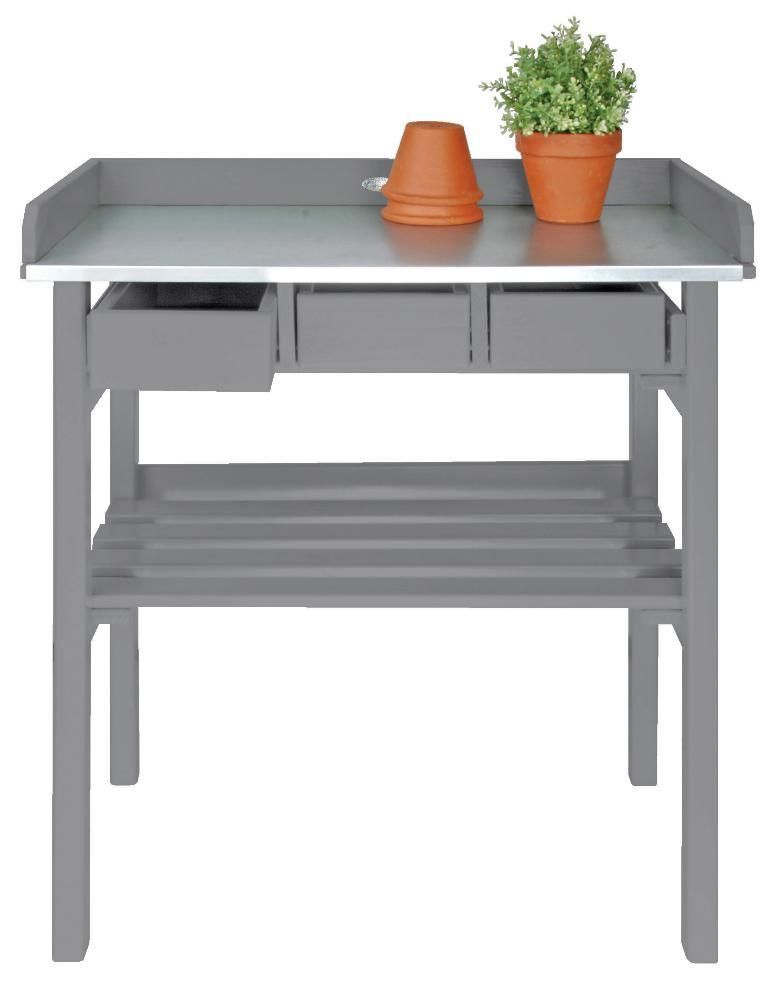 Table de jardinage en pin et zinc Gris