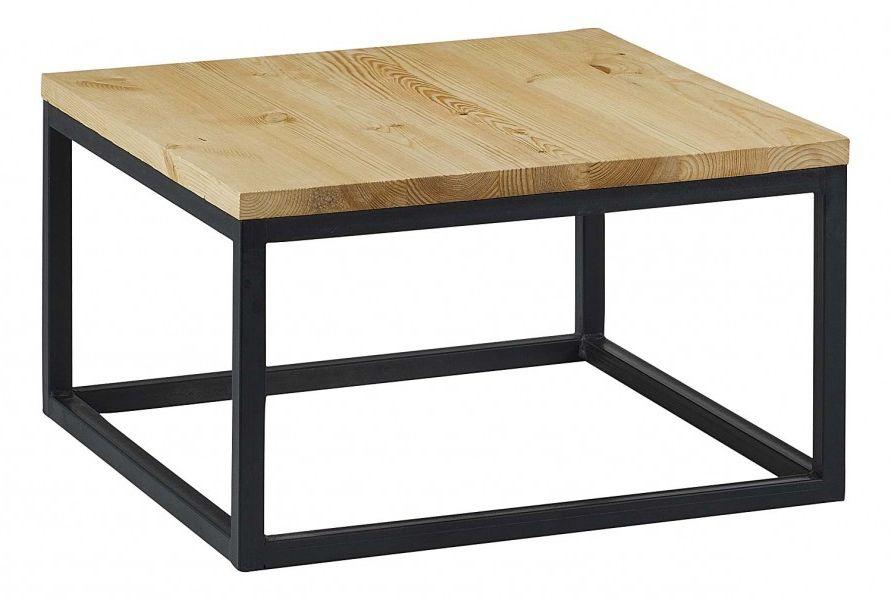 Table basse acier cuivre bois massif for Petite table basse en bois