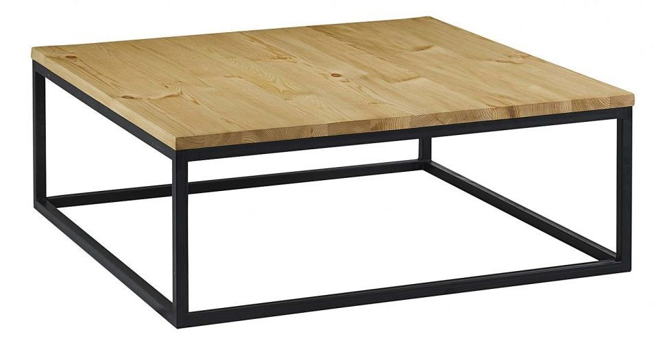 table basse carree bois et metal. Black Bedroom Furniture Sets. Home Design Ideas