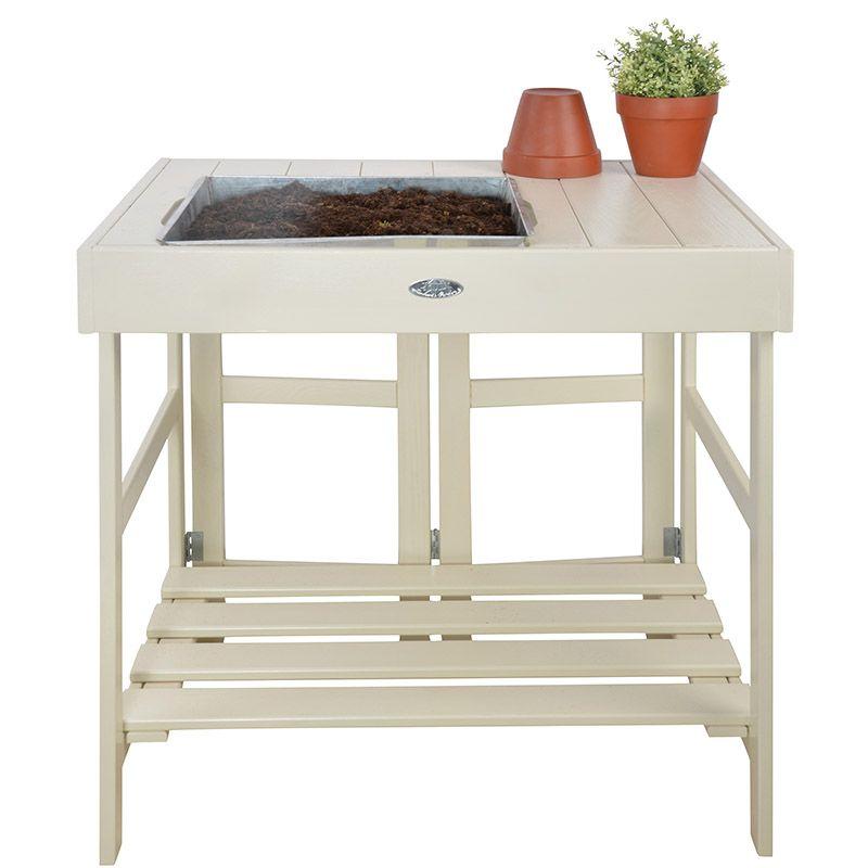 Table de rempotage en pin et zinc Blanc