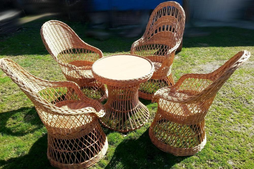 Salon de jardin osier 4 fauteuils + 1 table