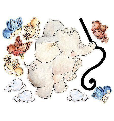 Stickers chambre b b l phant volant ebay - Stickers elephant chambre bebe ...