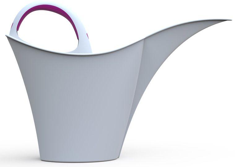 Arrosoir 5 L design Blanc avec manche fuchsia