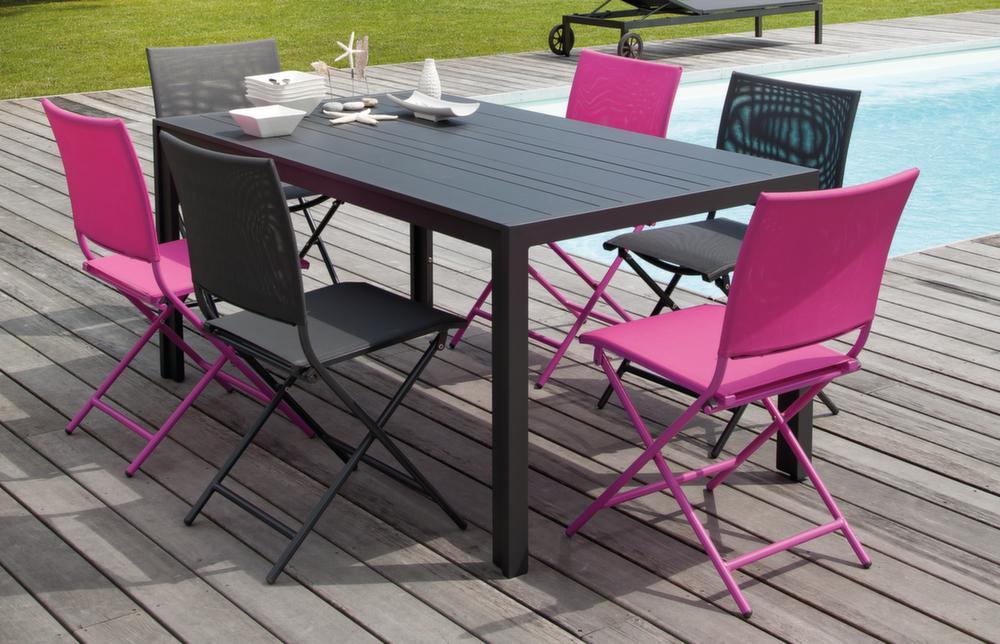 Salon Cara�bes 1 Table + 6 Chaises pliantes framboise Framboise