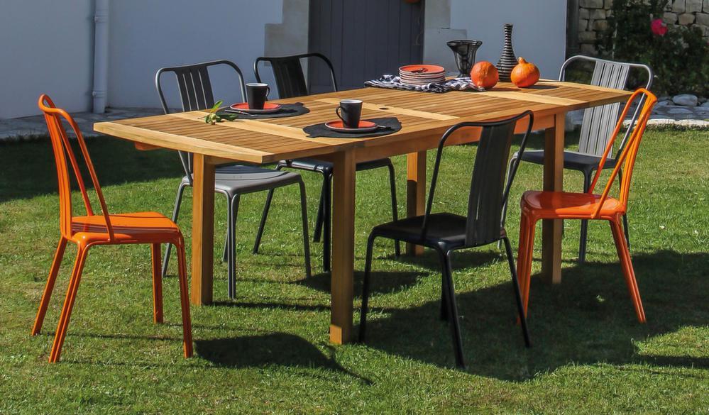 Salon de jardin alu teck 1 table 6 chaises Salon de jardin imitation rotin noir