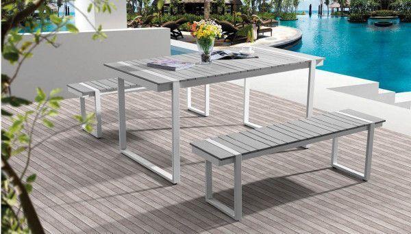 Ensemble repas Campagne 1 table 2 bancs Aluminium et PVC Imagin