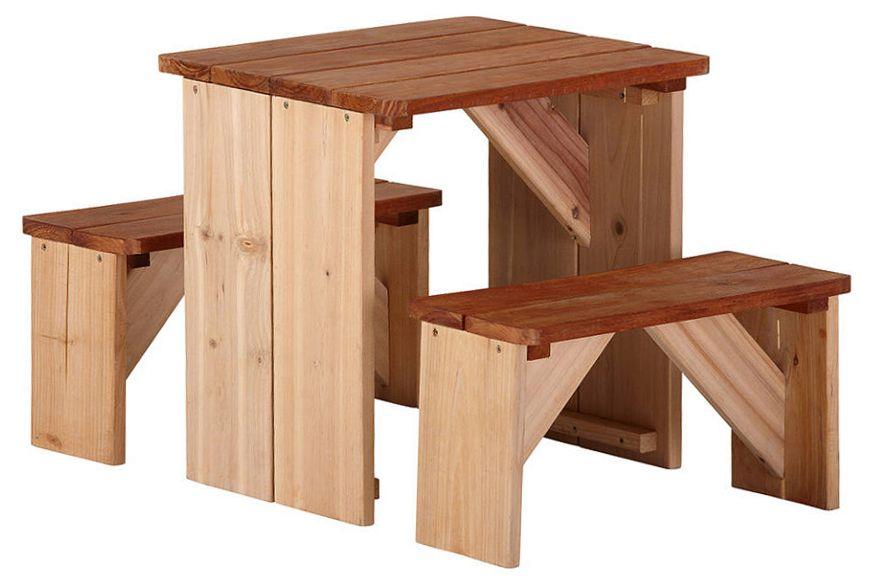 Bancs et table pour enfant ZidZed en cèdre
