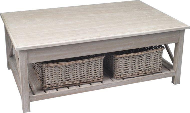 Table basse en bois avec 2 paniers