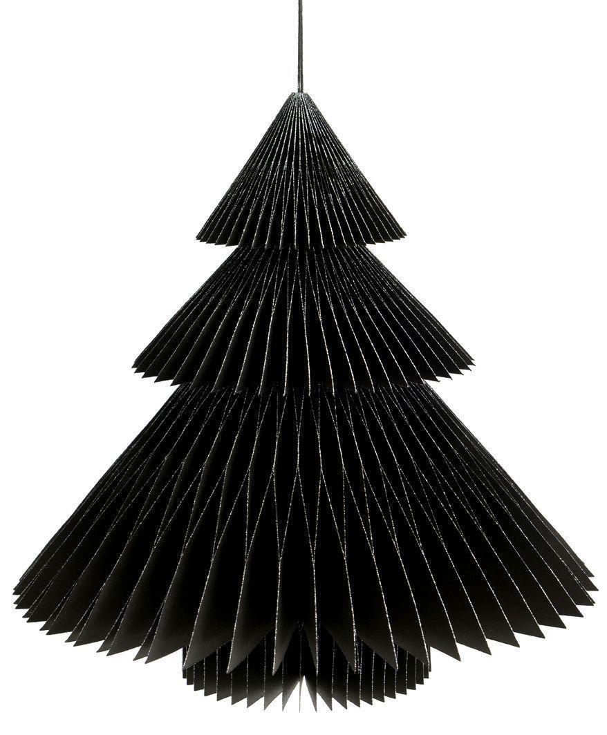 Sapin deco noir en papier 22cm