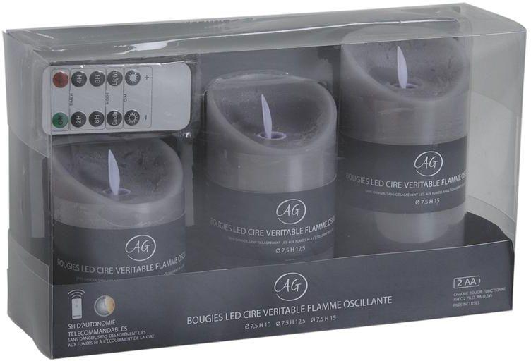 Coffret 3 bougies LEDs parfum�es avec t�l�commande