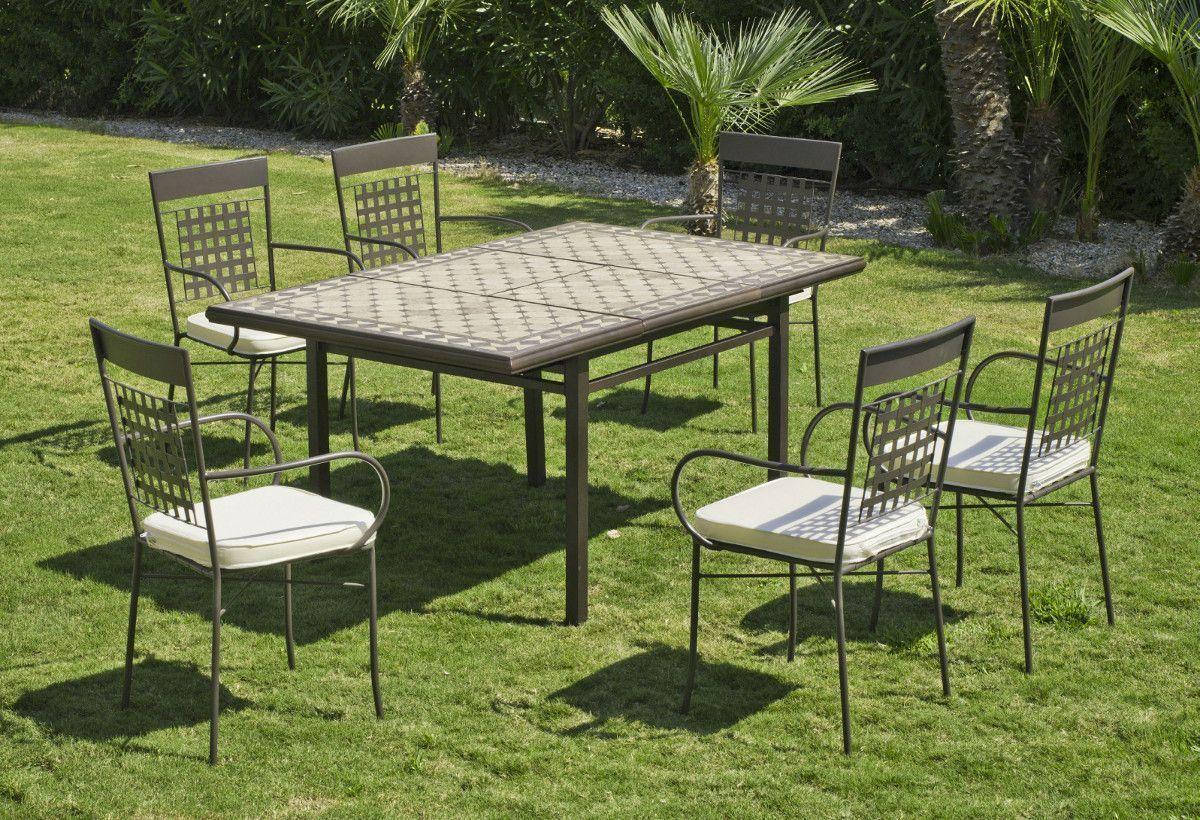 Beautiful Table De Jardin En Mosaique Avec Chaises Photos ...
