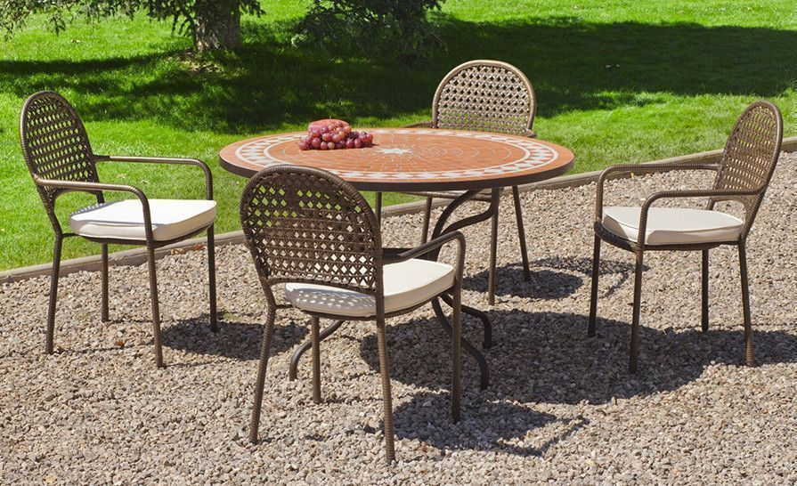 Table ronde fauteuils - Table de jardin en mosaique ...