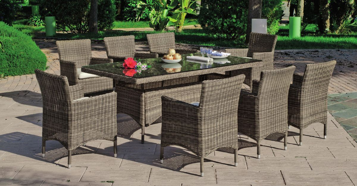 Mobilier de jardin places - Table de jardin en osier ...