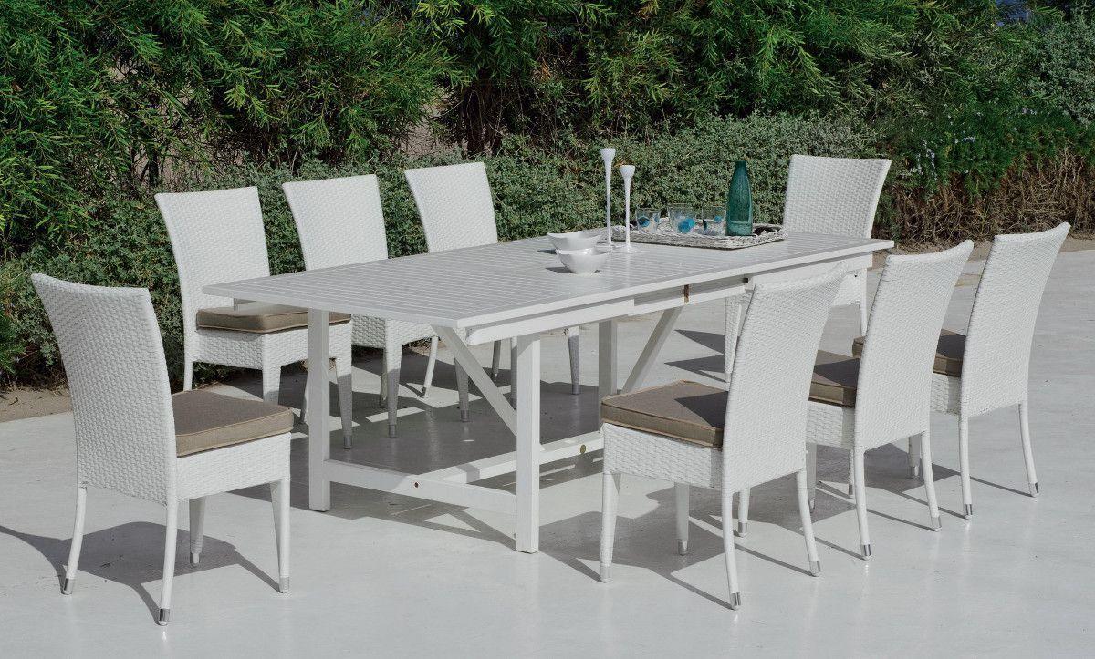 Table à manger rallonge bois laqué blanc