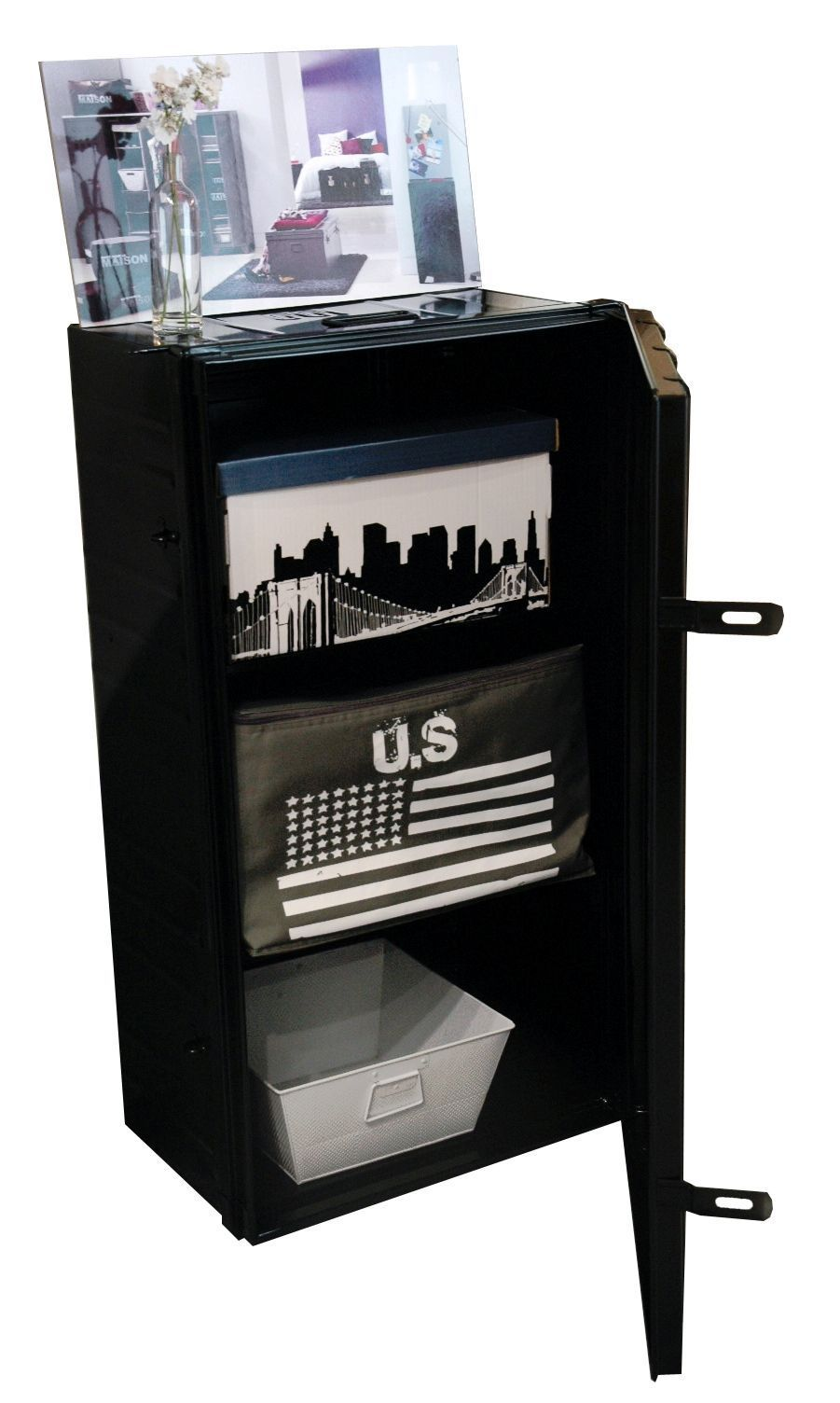 malle armoire en acier 2 en 1 ebay. Black Bedroom Furniture Sets. Home Design Ideas