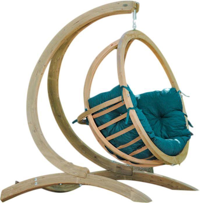 Cool fauteuil balancelle globo avec coussin vert et for Chaise adirondack rona