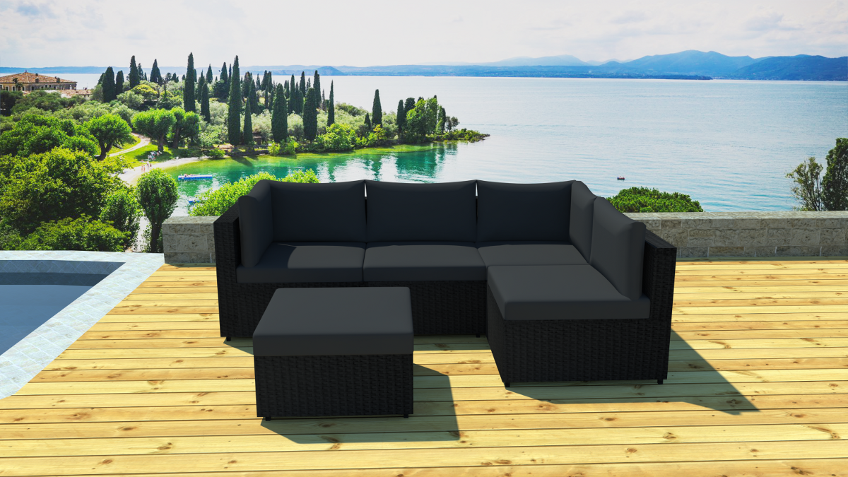 salon de jardin modulable 5 places en r sine ebay. Black Bedroom Furniture Sets. Home Design Ideas