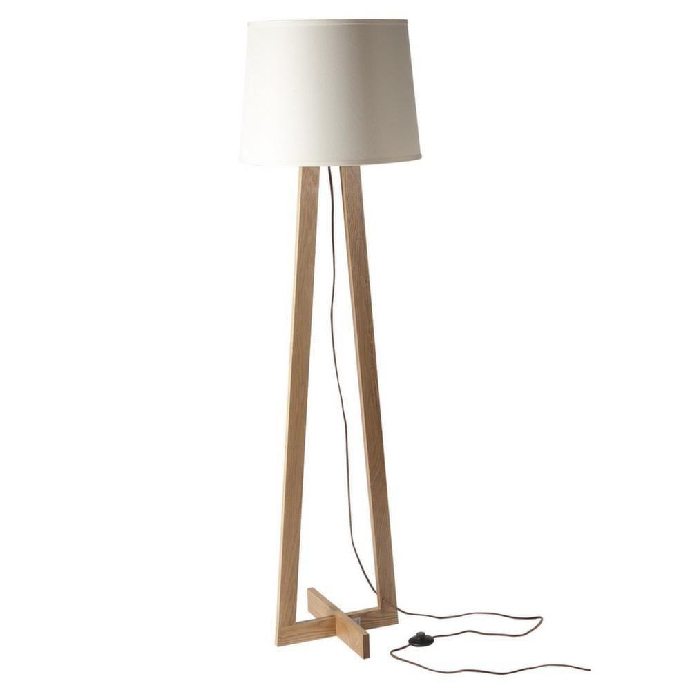 Dimensions abat jour lampe bois taupe for Lampe pied en bois