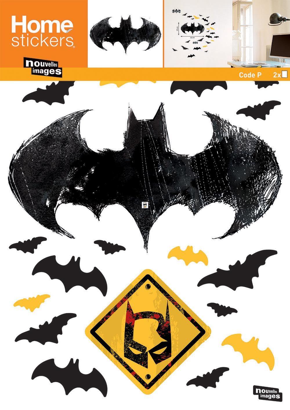sticker mural batman logo chauve souris eur 22 90 picclick fr. Black Bedroom Furniture Sets. Home Design Ideas