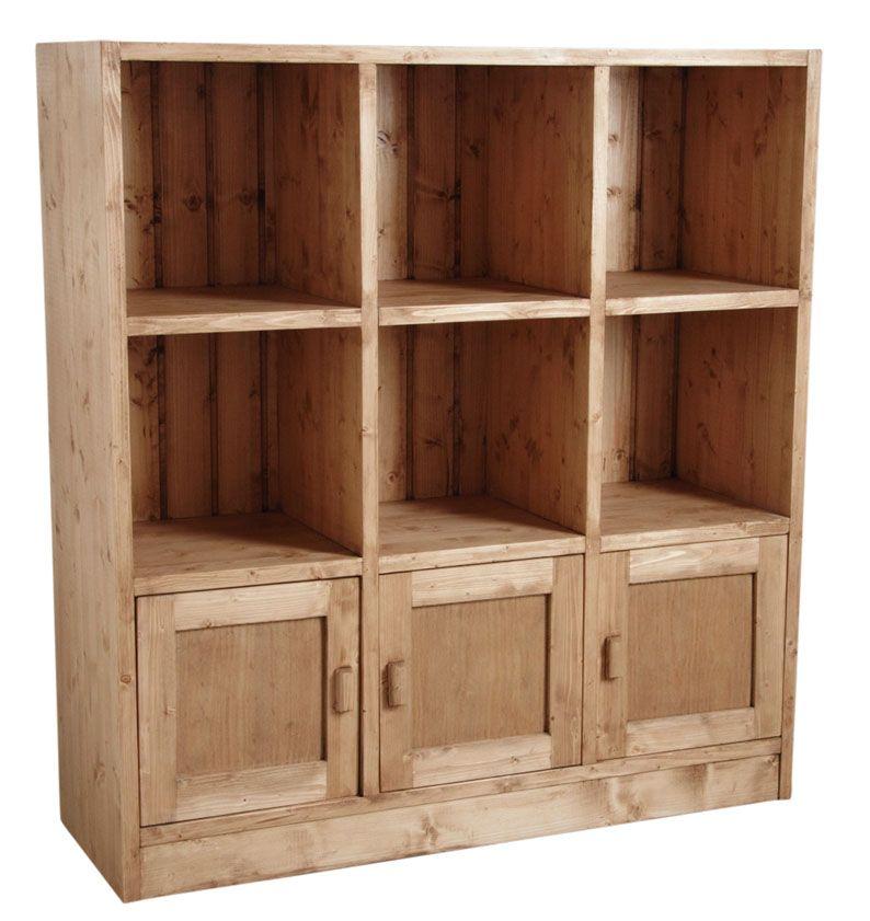 biblioth que 6 cases 3 portes en pic a cir miel eur 519 00 picclick fr. Black Bedroom Furniture Sets. Home Design Ideas