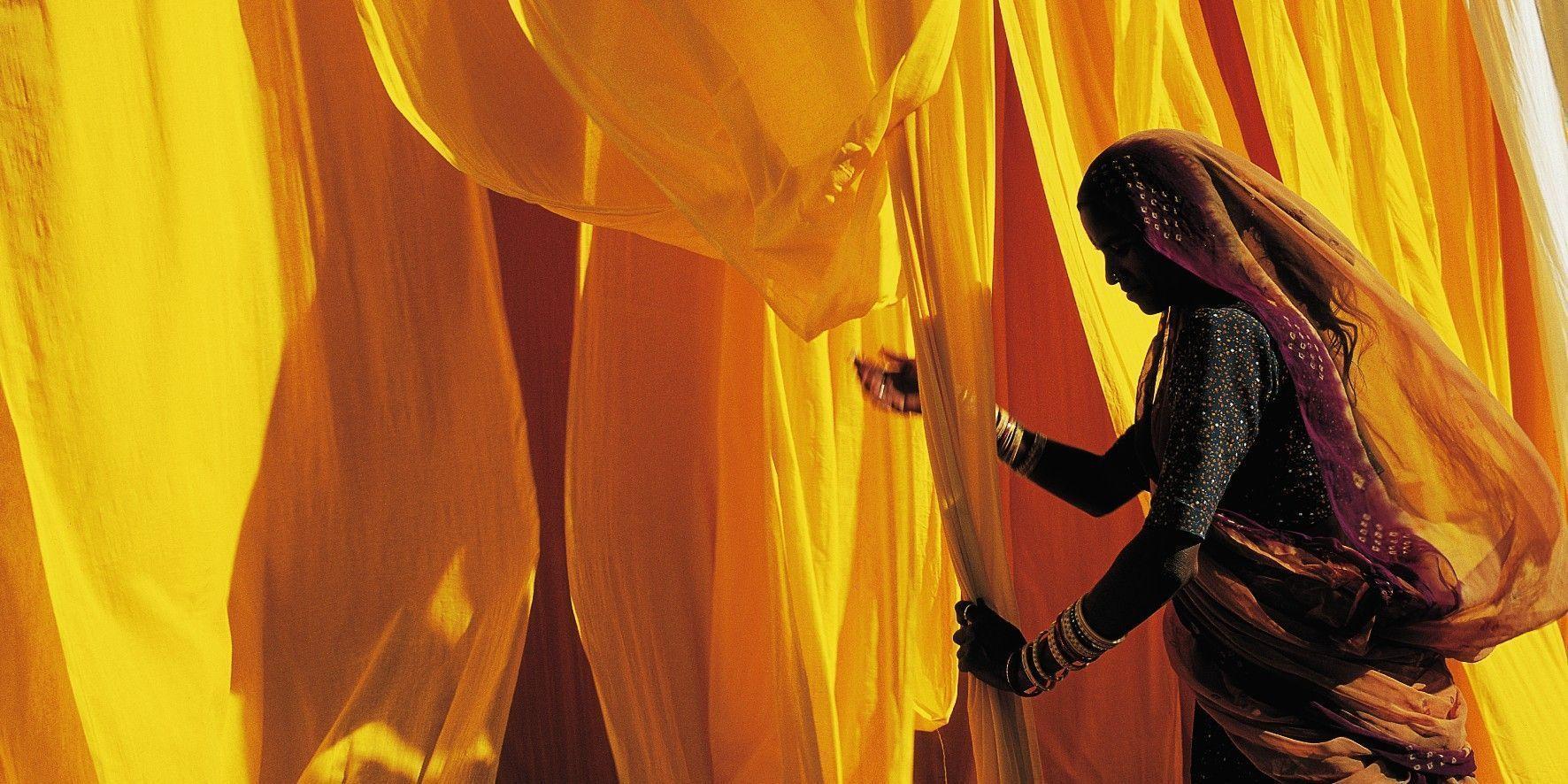 Affiche fabrique de Saris Rajasthan Inde