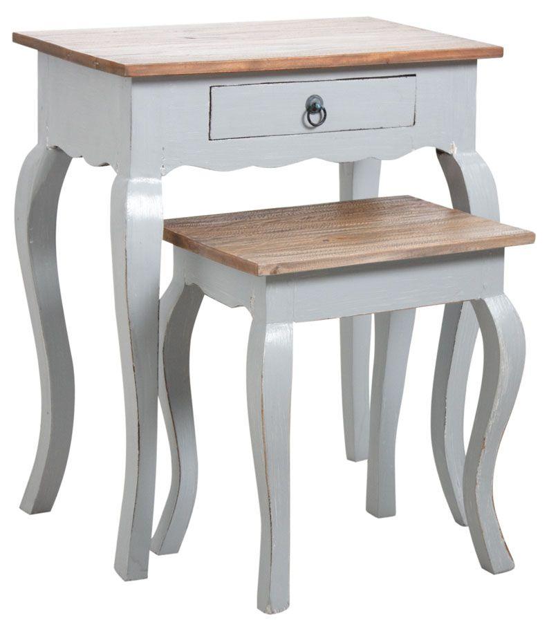 Tables gigognes en bois gris antique