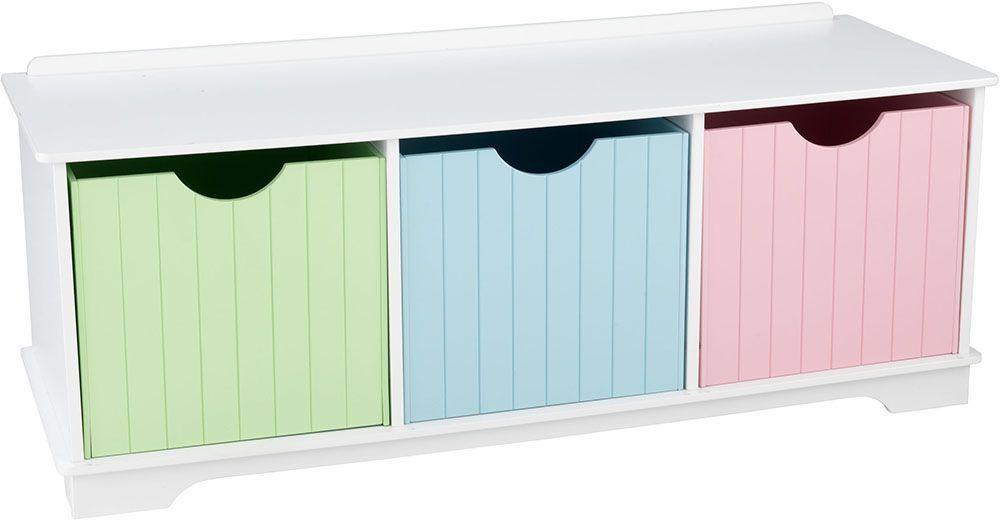 Banc de rangement en bois avec tiroirs pastels