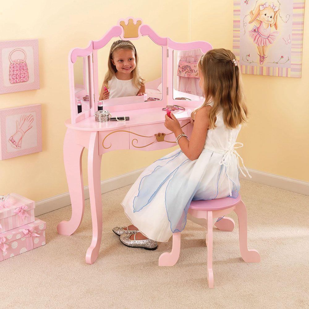 Coiffeuse en bois et tabouret rose pour enfant Princesse | eBay