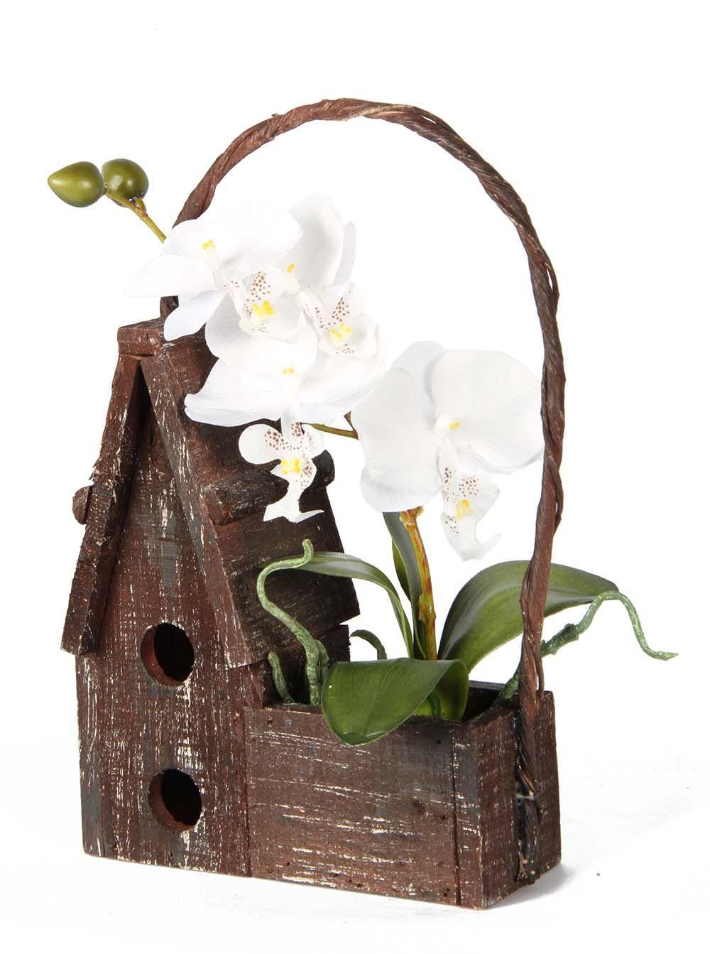 MAISON EN BOIS avec orchidées artificielles - EUR 8,90 ...